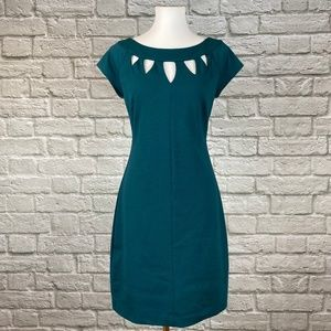 Laundry by Design Teal Cutout Sheath Dress